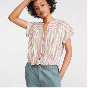 Lou & Grey for Loft Striped Tie Front Shirt Medium